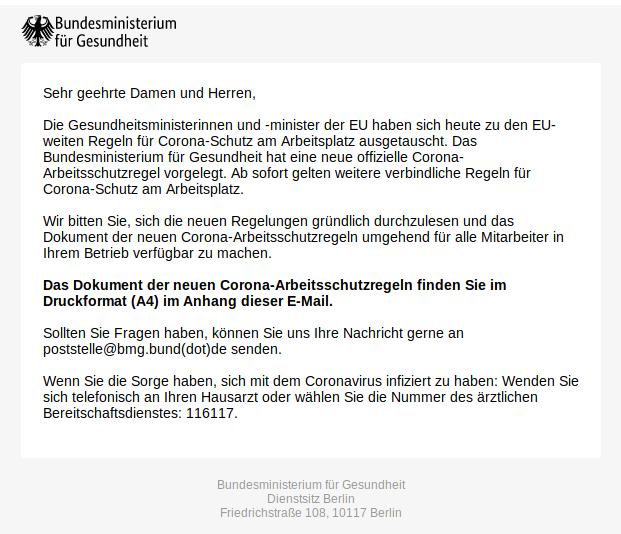 Screenshot der E-Mail